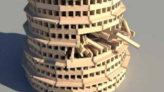 getlinkyoutube.com-KEVA planks round tower build and destroy using Bullet Physics Engine