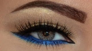 getlinkyoutube.com-EASY Gold & Blue makeup look...مكياج ذهبي و أزرق سهل جدا