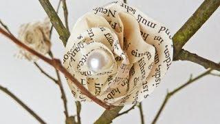 getlinkyoutube.com-DIY: Deko mit hübschen Blüten aus Buchseiten einfach selber machen | Deko-Kitchen