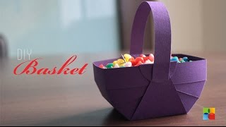 getlinkyoutube.com-DIY : How to make Basket out of craft paper