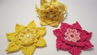 getlinkyoutube.com-Crochet Flower 3 كروشيه وردة ٣