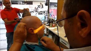 getlinkyoutube.com-Turkish barber shave and haircut straight razor and fire - ASMR video