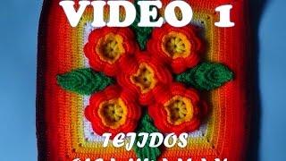 """getlinkyoutube.com-tejidos a crochet paso a paso: muestra """"5 flores"""" para colchas video 1"""