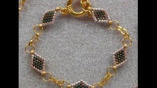getlinkyoutube.com-Peyote and Chain Bracelet