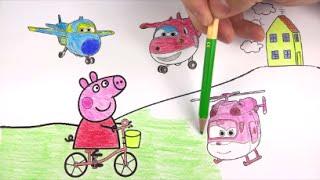 getlinkyoutube.com-SUPER WINGS E PEPPA PIG - Aprenda a Colorir