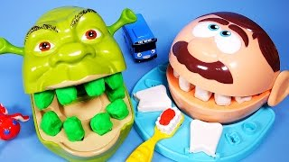 getlinkyoutube.com-Play Doh Shrek and Doctor Drill 'N Fill Rotten Root Canal Playdough Dentist with Tayo the little bus