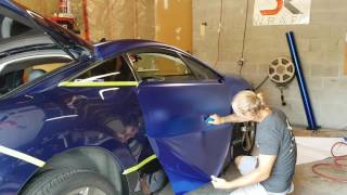 getlinkyoutube.com-Professional level. How to vinyl wrap your door. Satin blue chrome. Mitsubishi Eclipse by @CKWRAPS