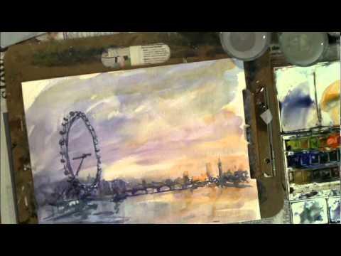 Loose Impressionist Watercolor demonstration London eye