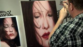 Airbrush Portrait on Canvas Using Createx Wicked w/ Steve Driscoll