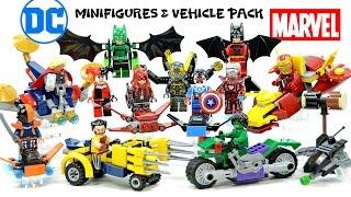 getlinkyoutube.com-Batman Deathstroke Hulk Iron Man Wolverine Thor Minifigures & Vehicle Packs Unofficial LEGO Set