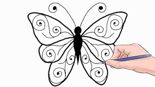 getlinkyoutube.com-How to Draw a Butterfly Easy Step by Step