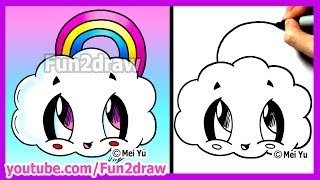 getlinkyoutube.com-How to Draw Cartoons - Rainbow Cloud - Fun2draw Cute Easy Things