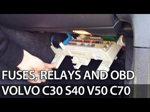 Where are fuses, relays and OBD port in Volvo C30 S40 V50 C70 (fuse box)