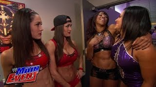 getlinkyoutube.com-The Bella Twins run into Aksana & Alicia Fox before their match: WWE Main Event, Jan. 22, 2014