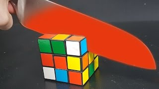 EXPERIMENT Glowing 1000 degree KNIFE vs RUBIK'S CUBE