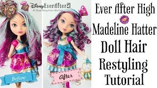 getlinkyoutube.com-Ever After High Madeline Hatter Doll Hair Restyling Tutorial + How to Boil Wash & Curling