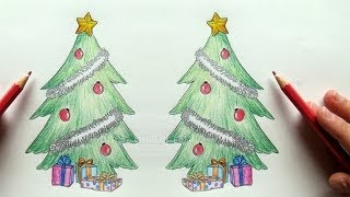 getlinkyoutube.com-Tannenbaum zeichnen - Weihnachtsbaum zeichnen lernen - Malen lernen - Weihnachtsbilder malen