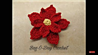 getlinkyoutube.com-CROCHET How To #Crochet Poinsettia Christmas Flower TUTORIAL #353