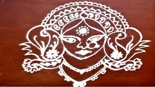 special freehand Goddess Durga Rangoli step by step for navratri / dasehra by meartist