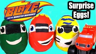 getlinkyoutube.com-BLAZE and the MONSTER MACHINES! Giant Play Doh Surprise Eggs with Blaze Pickle and Stripes!