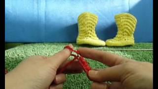 getlinkyoutube.com-Как связать пинетки-сапожки на двух спицах - 2 / How to knit baby booties shoes very easy - 2