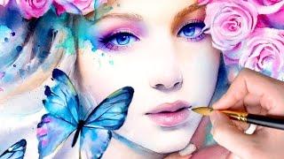 getlinkyoutube.com-【WATERCOLOR PORTRAIT】 Pink Constellation