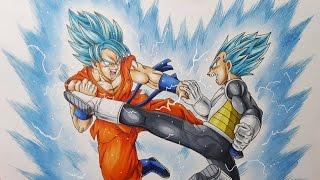 getlinkyoutube.com-Drawing Goku VS Vegeta - Super Saiyan Blue