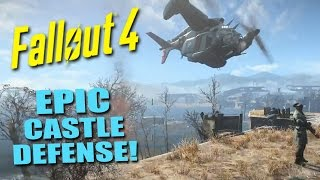 getlinkyoutube.com-FALLOUT 4: The EPIC Defense of the Castle! - Fortifying Defenses, Vertibirds & Nukes!