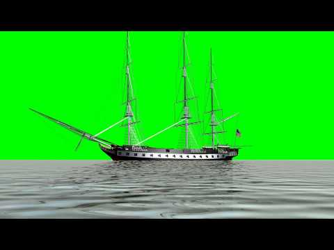 sailing ship USS Constitution - green screen