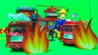 getlinkyoutube.com-FIREMAN SAM UNBOXES MOTOR MAX USA FIRE STATION & FIRE ENGINE PLAYSET