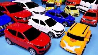 getlinkyoutube.com-헬로카봇 산타페 또봇 변신, 파워레인저 다이노포스 장난감 Hello Carbot TOBOT mini Robot car toys