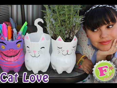 DIY: Cat Lover! Maceta y/o Portalapices Ecológicos //  Kitty from plastic bottles