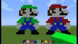 getlinkyoutube.com-Minecraft Pixel Art tutorial: Mario & Luigi
