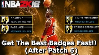NBA 2K16 FASTEST BADGE TUTORIAL!! (Deadeye, Limitless Range, Corner Specialist, & Fade Ace)