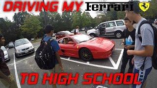 getlinkyoutube.com-Driving My Ferrari To High School At 17! Funny Supercar Reactions!