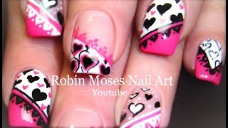getlinkyoutube.com-5 Nail Art Tutorials | DIY Valentine Nail Art | Pink Black & White Hearts mix & Match!!!