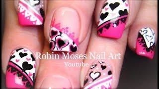 5 Nail Art Tutorials | DIY Valentine Nail Art | Pink Black & White Hearts mix & Match!!!