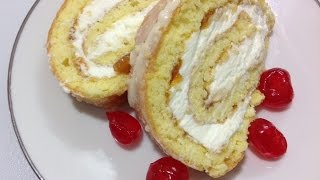 getlinkyoutube.com-طريقة عمل سويسرول المربى و الكريمه Swiss Roll Cake