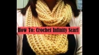 getlinkyoutube.com-♡ How To: Crochet Ribbed Infinity Scarf