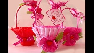 Basket for sweets. Easy and rich. Gift wrap. Valentine's basket