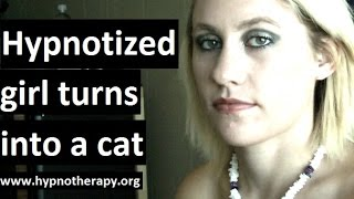 Hypnotized girl meow like a cat, can't speak english, positive hallucinations. #hypnosis #nlp