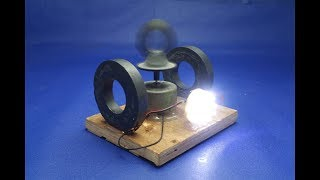 How to make free energy light bulbs generator with magnets & DC motor - experiment  at home width=