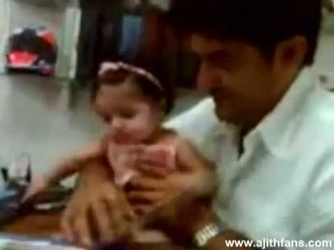 Cute Little Anoushka plays with Ajith and Shalini - Exclusive