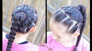 getlinkyoutube.com-Cola Trenzada en Flor - Ponytail Flower | Peinados para Colegio | Trenzas | Peinados para niñas