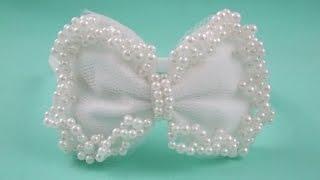 getlinkyoutube.com-Faça você mesma: tiara com laço de feltro e pérolas