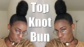 getlinkyoutube.com-Top Knot High Bun Tutorial + Baby Hair