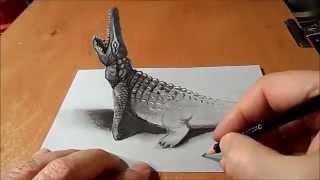 getlinkyoutube.com-رسم تمساح بطريقة ثلاثية الابعاد مذهل  drawing 3D