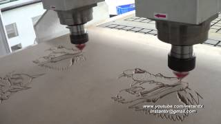getlinkyoutube.com-1325-2 double spindle cnc router, V bit working, China cnc router