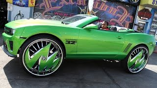 getlinkyoutube.com-Custom Green Camaro Sits On Massive 32-inch Rims