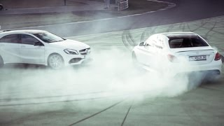 getlinkyoutube.com-Mercedes AMG C63S vs AMG A45 - Two Hot Girls Drifting on Racetrack [ENG SUB]